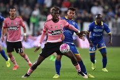 Paul Pogba of Juventus FC is challenged by Mirko Gori of Frosinone Calcio during the Serie A match between Juventus FC and Frosinone Calcio at Juventus Arena on September 23, 2015 in Turin, Italy. (Sept. 22, 2015 - Source: Valerio Pennicino/Getty Images Europe)