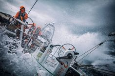 March 24, 2015. Leg 5 to Itajai onboard Team Alvimedica. Day 6. A late night gybe set off a wild day of true Southern Ocean sailing as the temps dropped and the wind and waves built with an approaching low pressure system and accompanying cold front. Stu Bannatyne driving in windy downwind conditions while pushing through an incoming Southern Ocean cold front Amory Ross / Team Alvimedica / Volvo Ocean Race
