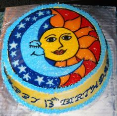 Sun and Moon cake 10-in round frosted in buttercream. Drawn on with icing gels