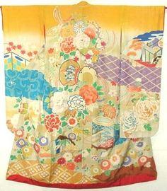 Vintage kimono Yuzen colorful hand drum, wedding cart, shell baskets