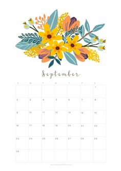 Printable September 2018 Calendar Monthly Planner - Floral Design - A Piece Of Rainbow