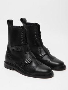 Mugler Mens Buckled Brogue Boot