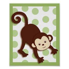 Mod Pod Pop Monkey Nursery Wall Art Print
