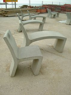 concrete chair and chaise