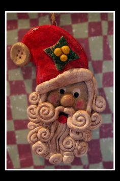 Handmade Salt Dough Santa Ornament by walnutgrovecrafts on Etsy