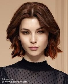 Layered and just below the chin bob hairstyle.