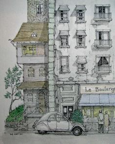 Le Boulangerie  by Rob Carey    #sketch  #watercolor