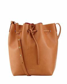 Mansur Gavriel Structured Leather Bucket Bag, Camel/Pink