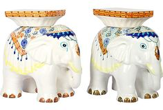 Painted Elephant Garden Stools, Pair on OneKingsLane.com