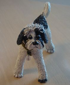 polymer clay dog statue approximately 5 to 7 in size by huskadoo