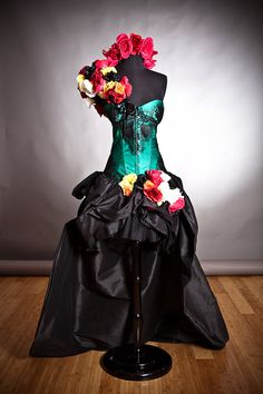 Custom Size Green and black lace burlesque prom dress with bustled train head piece and arm piece roses Day of the Dead costume on Etsy, $499.00