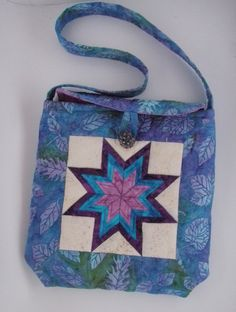 Quilted Purse Patchwork Star Batik in Teals by MooseCarolQuilts