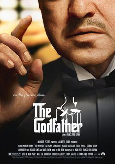 The Godfather. American crime drama film directed by Francis Ford Coppola in 1972, starring Marlon Brando and Al Pacino