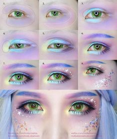 anime makeup Mermail Makeup Tutorial by mollyeberwein on DeviantArt Eye Makeup Glitter, Eye Makeup Art, Cute Makeup, Anime Eye Makeup, Gorgeous Makeup, Anime Cosplay Makeup, Crazy Makeup, Hallowen Schminke, Anime Make-up