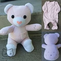 Keepsake Memory Teddy Bear: upcycled from your own fabric, baby clothes, outfit, baby blanket - Save your baby's favourite sleepers, coming-home outfit or blanket forever by having them made into a one of a kind keepsake teddy bear!