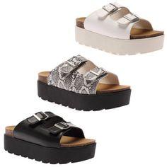 Para-Mujer-Damas-Grueso-Plataforma-Cuna-Plano-2-Correa-Hebilla-Sandalias-Zapatos-Talla