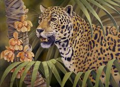 """""""Spots"""" by Laura Regan. """"I had fun with this image by contrasting the stripes of the #palms with the spots of the jaguar! I also contrasted the soft beauty of the #orchids with the fierce strength of the #jaguar who is alert and ready to prowl."""" #art #oilpainting #animals #wildlife #realism #nature #contemporaryart #tropical"""