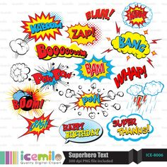Superhero Text Digital Clipart by IcemiloClipart on Etsy, $5.00
