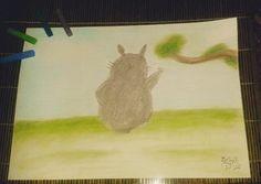 """Acabei de fazer... Totoro se despedindo de 2016!  #Totoro #drawing #pastelseco #pastel #desenho…"""