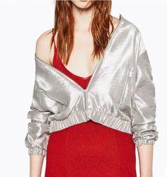 Women's Silver Waist Length Casual Sports Party Nightclub Jacket Coat Q3209