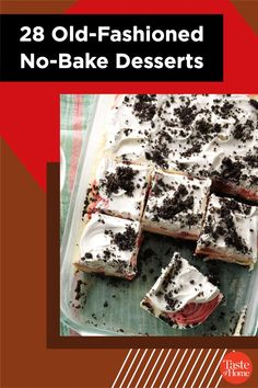 Grandma's treats are always best, especially when you don't have to use the oven to make 'em. These easy no-bake desserts will take you back down memory lane! Easy No Bake Desserts, Summer Desserts, Fun Desserts, Summer Recipes, Dessert Recipes, Homemade Peanut Butter Cups, Peanut Butter Candy, Blueberry Jello Salad, Grasshopper Pie
