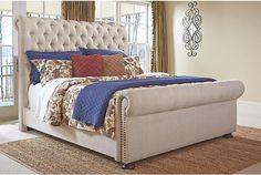 Windville white linen upholstered bed frame View 1