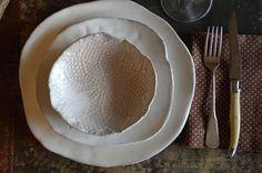 White stoneware Ceramic dinner plates dinnerware plates tableware stoneware dishes dinnerware set Handmade pottery plates €67,30 on etsy (https://www.etsy.com/it/shop/christianesutherland?ref=l2-shopheader-name)