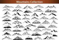 different mountain ranges silhouette collection set royalty-free different mountain ranges silhouette collection set stock vector art & more images of mountain Berg Illustration, Mountain Illustration, Illustrations, Mountain Sketch, Mountain Drawing, Time Tattoos, Body Art Tattoos, Tatoos, Landscape Drawings