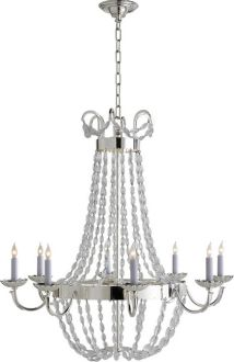 Chart House from Visual Comfort designed by Sandy Chapman Large Paris Flea Market Chandelier in Polished Silver with Seeded Glass Silver Chandelier, Chandelier Ceiling Lights, Round Chandelier, Kitchen Chandelier, Ceiling Fans, Chart House, Visual Comfort Lighting, Paris Flea Markets, Large Chandeliers