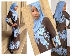 """Floral brown and blue """"MAXI jilbab"""""""