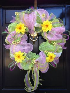 SPRING/SUMMER deco mesh WREATH by sayitwithawreathcom on Etsy, $75.00