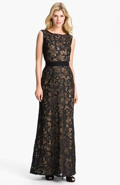 T by Tadashi Bateau Neck Lace Gown available at #Nordstrom