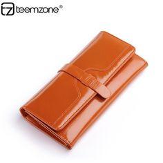 Women Genuine Leather Clutch Handbag Organizer Wallet Card Coin Purse Checkbook #teemzone #Trifold