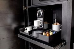LOVE, LOVE this pull-out coffee station, EVERY house should have one!! Burlington MA Boutique Hotel | Archer Hotel