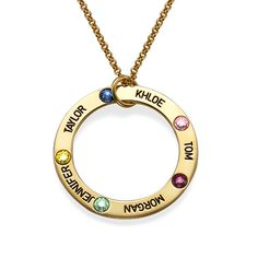 Engraved Birthstone Necklace for Mum - Gold Plated | MyNameNecklace