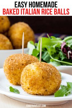 Baked Italian Rice Balls Easy Baked Arancini From Your Oven Leftover Rice Recipes, Rice Recipes For Dinner, Pureed Food Recipes, Cooking Recipes, Homemade Cream Corn, Mozzarella, Easy Stuffing Recipe, Risotto Balls, Easy Baked Ziti