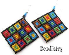 Retro Squares Earrings (40 LEI la Beadfairy.breslo.ro)