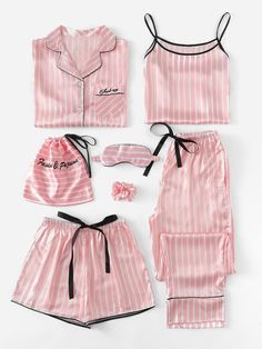 7Pcs Letter Embroidered Striped PJ Set With Shirt -SheIn(Sheinside)  Nightwear f25b2007a