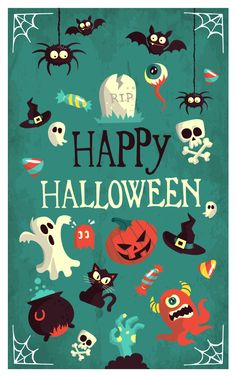 Looking for Halloween wallpapers to haunt your screens this end of October? Well, too bad because we only have adorable Halloween wallpapers to share with Halloween Designs, Halloween Tags, Halloween Imagem, Fröhliches Halloween, Halloween Vector, Holidays Halloween, Vintage Halloween, Halloween Decorations, Halloween Poster