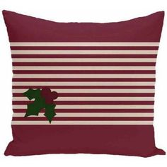 Simply Daisy Holiday Stripe Print Decorative Pillow, 16 inch x 16 inch, Red