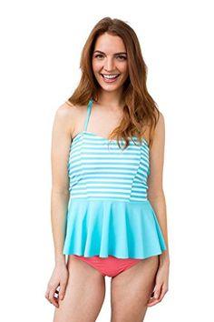 Peplum Pool Stripe Tankini Top Lime Ricki Swimwear