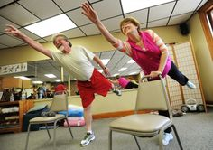 Retire to Bangor, ME: George and Kate Giffin work out together as part of a fitness class at the Hammond Street Senior Center on Bangor on Monday. The Giffins retired to the Bangor area about a year ago after living in several other locations including New Hampshire and Nova Scotia. The say they are New England people, they have the clothes for it, added George.