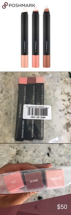 Mac Velvetease Lipliner Bundle Colors: Frolic, Oh Honey, Promise Me  NIB. Never opened. Will not be opened for swatches.   Please ask ALL questions before buying, sales are final. I try to describe the items I sell as accurately as I can but if I missed something, please LMK FIRST so we can resolve it before you leave < 5🌟rating.   🚫TRADES/OFFLINE TRANSACTIONS/SPAM COMMENTS ✅Use OFFER BUTTON (Please consider the 20% PM fee with your offer) 🛍Bundle your likes for discounts  🚭 & 🐶 Free…