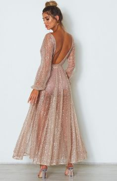 Ailani Rose Gold Open Back Long Sleeve Glitter Dress