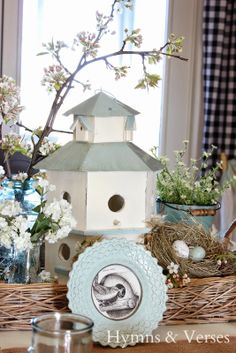 Spring Bird House Tablescape | Hymns and Verses
