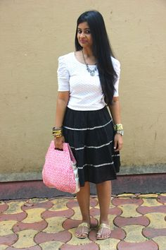 Black & White the Ethnic Way #highstreet #style #fashion #blog #india #stylist #mumbai #OOTD #WhatIWore #blogger #blackandwhite #retro #ethnic #skirt #sequin #blouse #polkadots