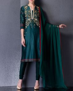 Forest Green Suit with Bird and Floral Motifs