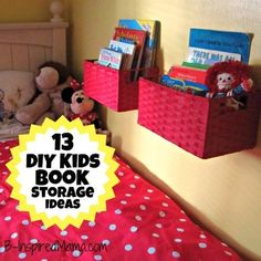 How do you store your kid's books?  Here are 13 creative DIY book storage ideas, including one simple DIY wall book display at B-InspiredMama.com.