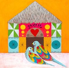 """""""Colorful Lovebirds"""" kids wall decor by Lisa Congdon for Oopsy daisy, Fine Art for Kids"""