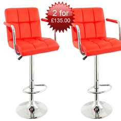 Special Offer, 2 Corin Height Adjustable Red Bar Chair for £135